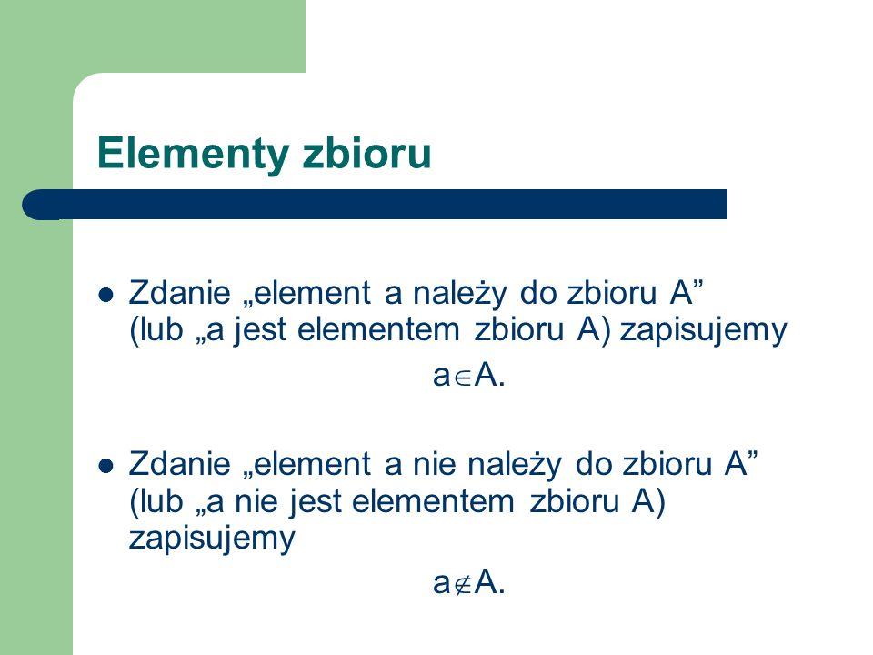 """Elementy zbioru Zdanie """"element a należy do zbioru A (lub """"a jest elementem zbioru A) zapisujemy."""