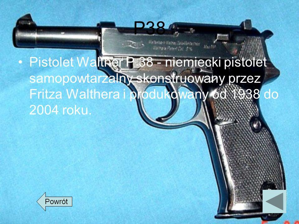 P38Pistolet Walther P 38 - niemiecki pistolet samopowtarzalny skonstruowany przez Fritza Walthera i produkowany od 1938 do 2004 roku.