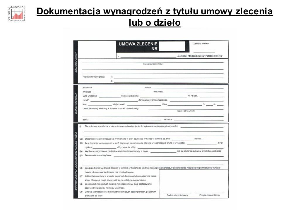 Dokumentacja wynagrodzeń z tytułu umowy zlecenia lub o dzieło