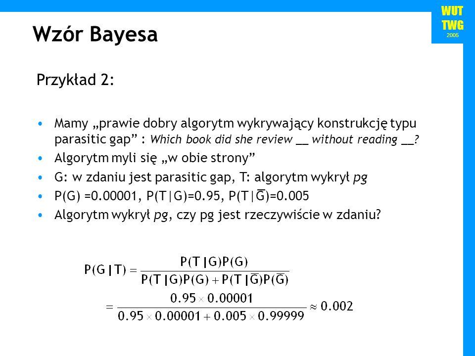 """Wzór Bayesa Przykład 2: Mamy """"prawie dobry algorytm wykrywający konstrukcję typu parasitic gap : Which book did she review __ without reading __"""
