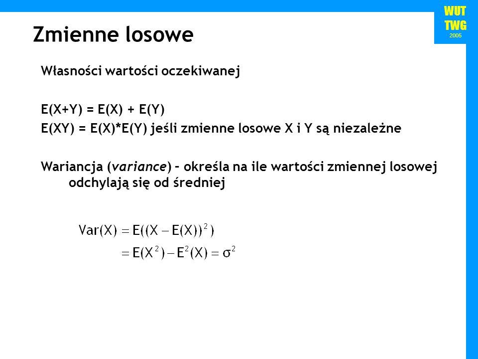 Zmienne losowe Własności wartości oczekiwanej E(X+Y) = E(X) + E(Y)