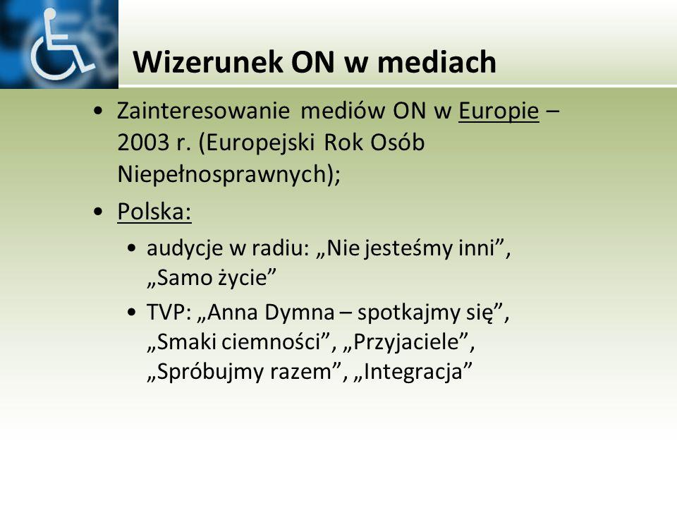 Wizerunek ON w mediach Zainteresowanie mediów ON w Europie – 2003 r. (Europejski Rok Osób Niepełnosprawnych);