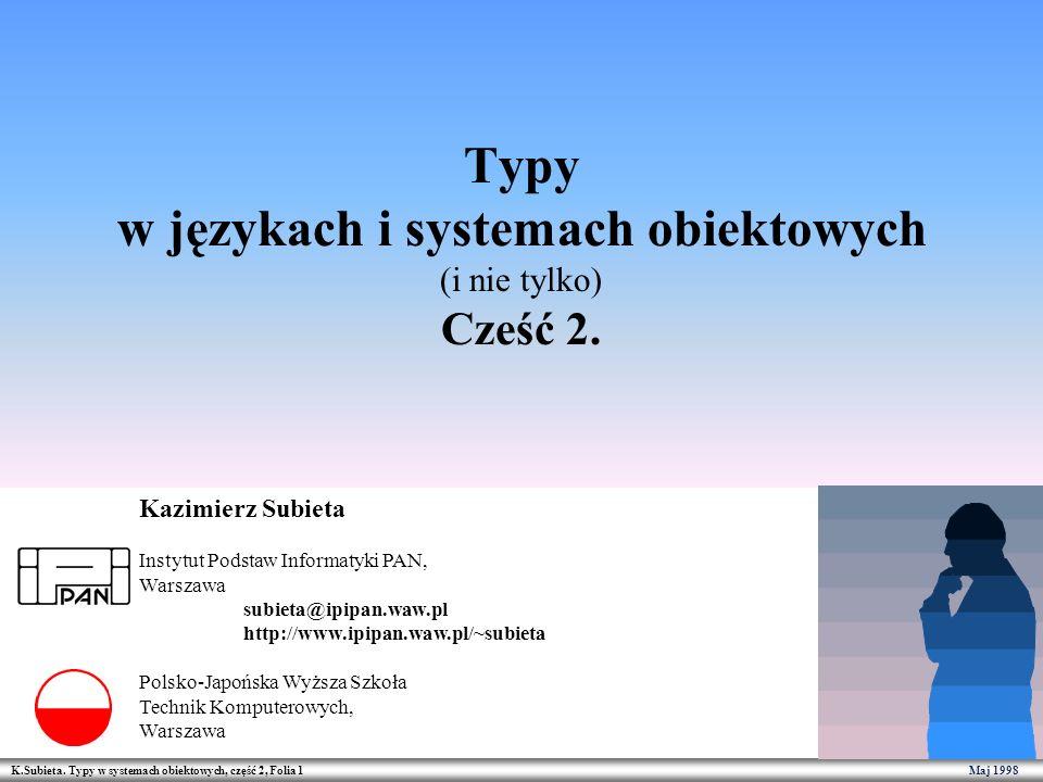 Typy w językach i systemach obiektowych (i nie tylko) Cześć 2.