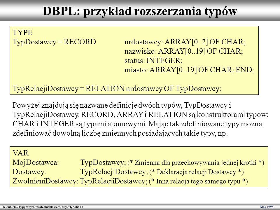 DBPL: przykład rozszerzania typów