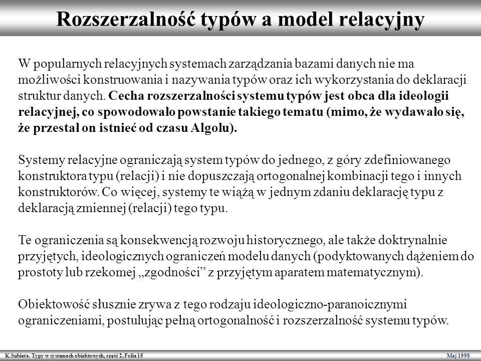 Rozszerzalność typów a model relacyjny