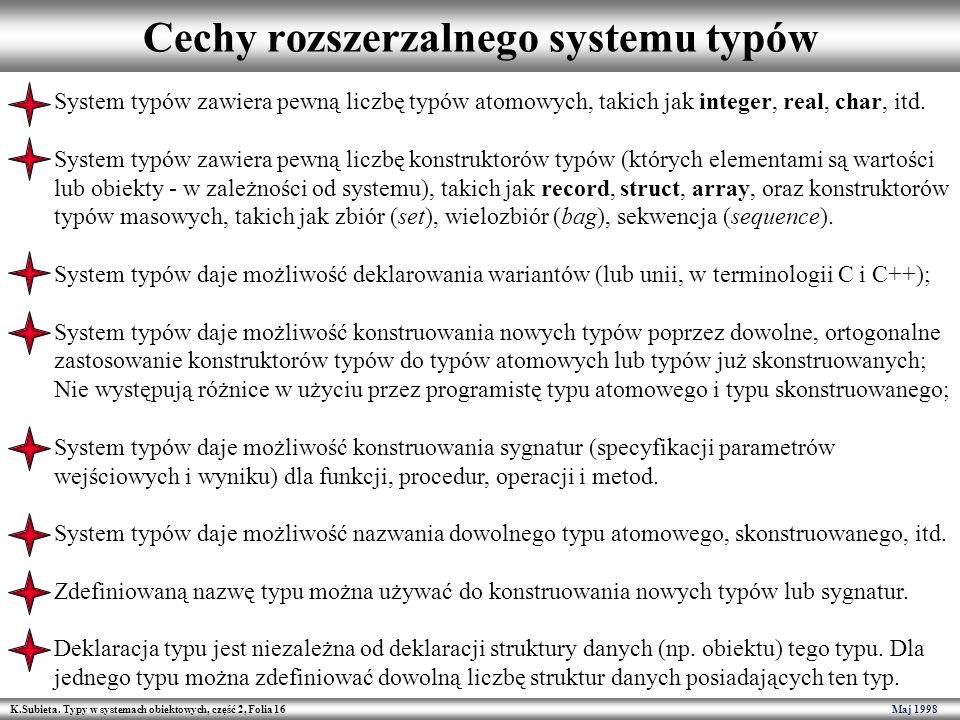 Cechy rozszerzalnego systemu typów