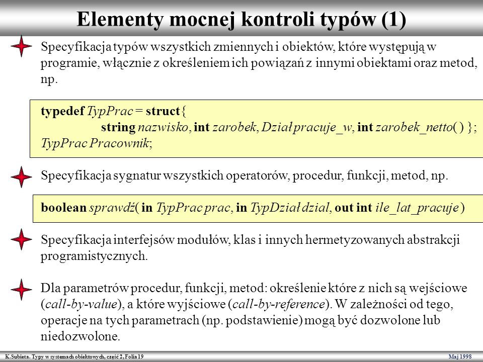 Elementy mocnej kontroli typów (1)