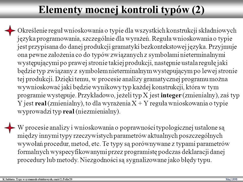 Elementy mocnej kontroli typów (2)