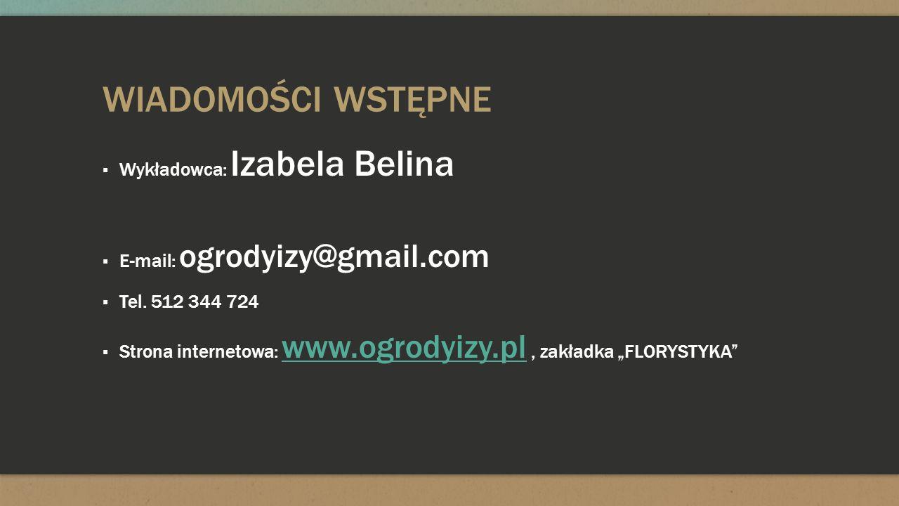 WIADOMOŚCI WSTĘPNE Wykładowca: Izabela Belina