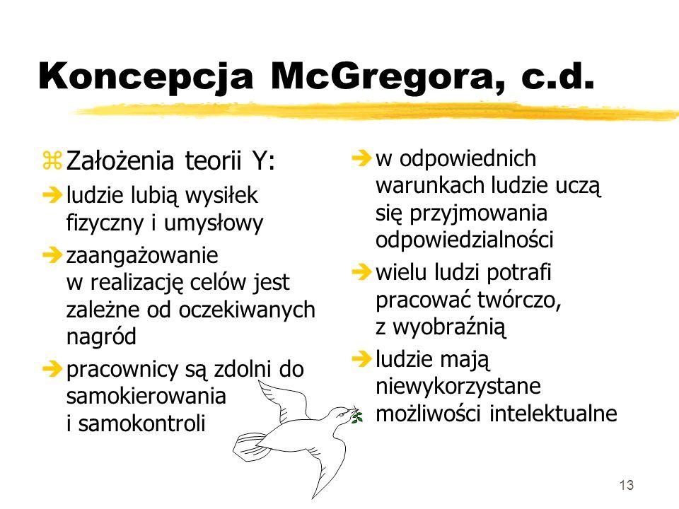 Koncepcja McGregora, c.d.