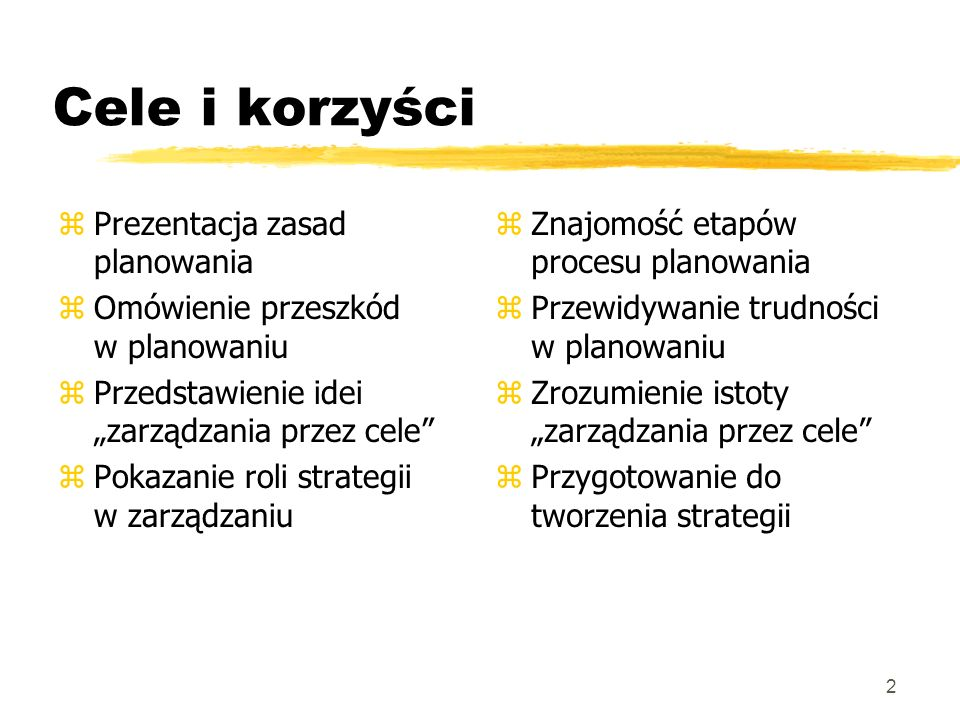 Cele i korzyści Prezentacja zasad planowania