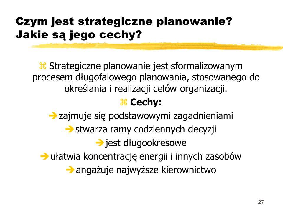 Czym jest strategiczne planowanie Jakie są jego cechy