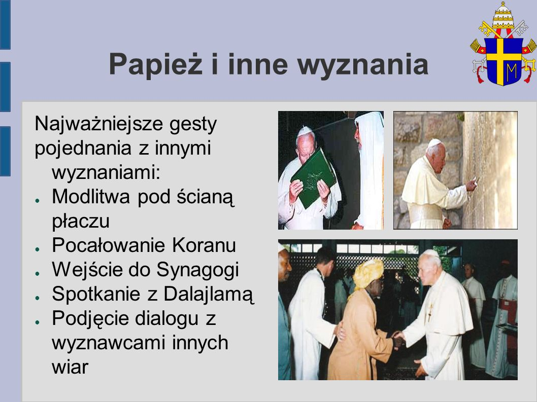 Papież i inne wyznania Najważniejsze gesty
