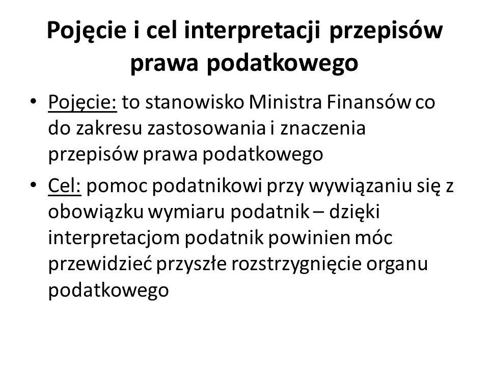 Pojęcie i cel interpretacji przepisów prawa podatkowego