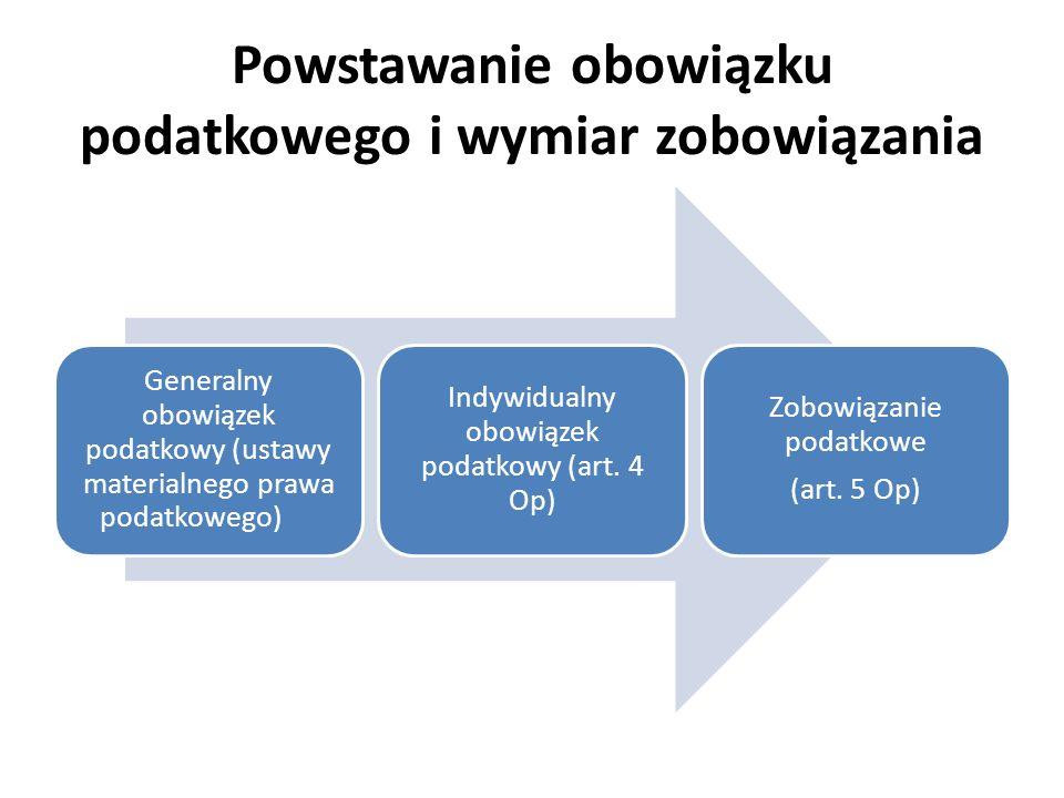 Powstawanie obowiązku podatkowego i wymiar zobowiązania