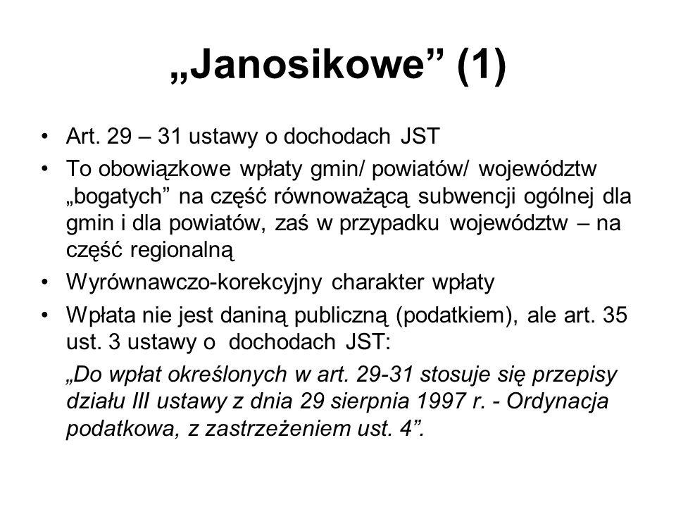 """""""Janosikowe (1) Art. 29 – 31 ustawy o dochodach JST"""