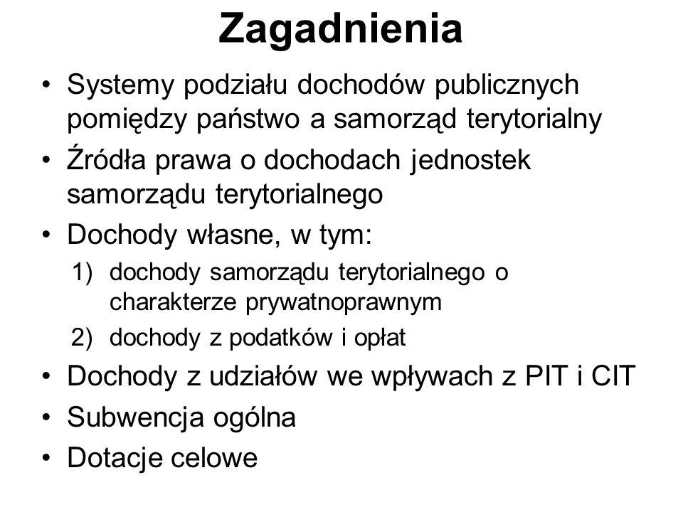 Zagadnienia Systemy podziału dochodów publicznych pomiędzy państwo a samorząd terytorialny.