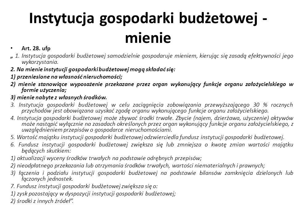 Instytucja gospodarki budżetowej - mienie