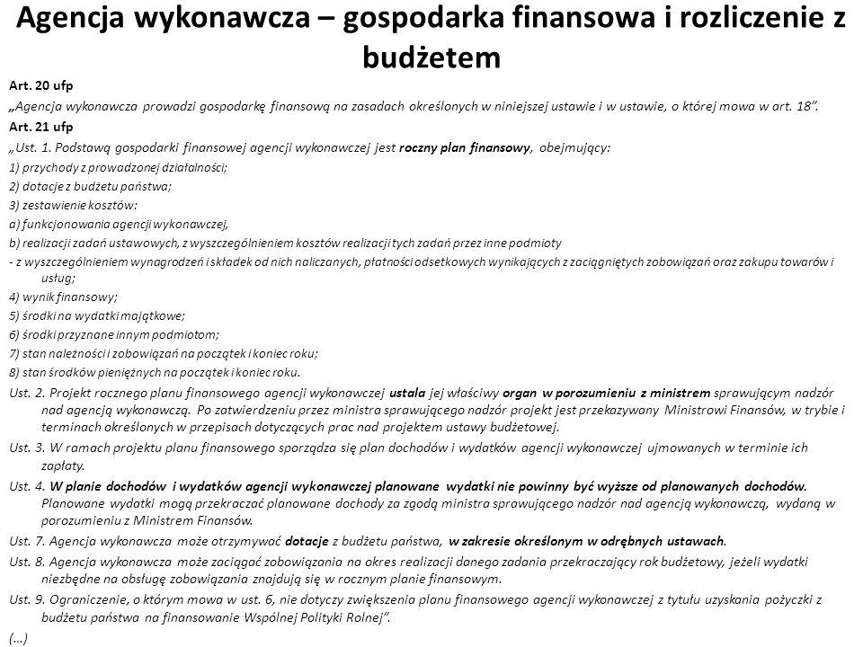 Agencja wykonawcza – gospodarka finansowa i rozliczenie z budżetem