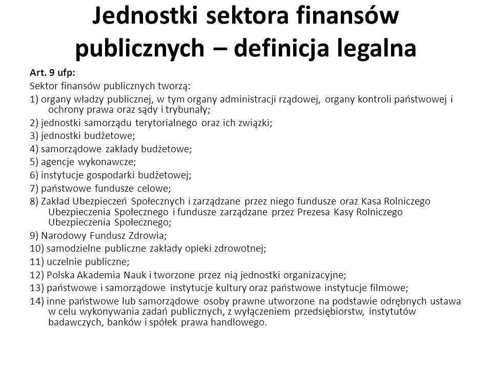 Jednostki sektora finansów publicznych – definicja legalna