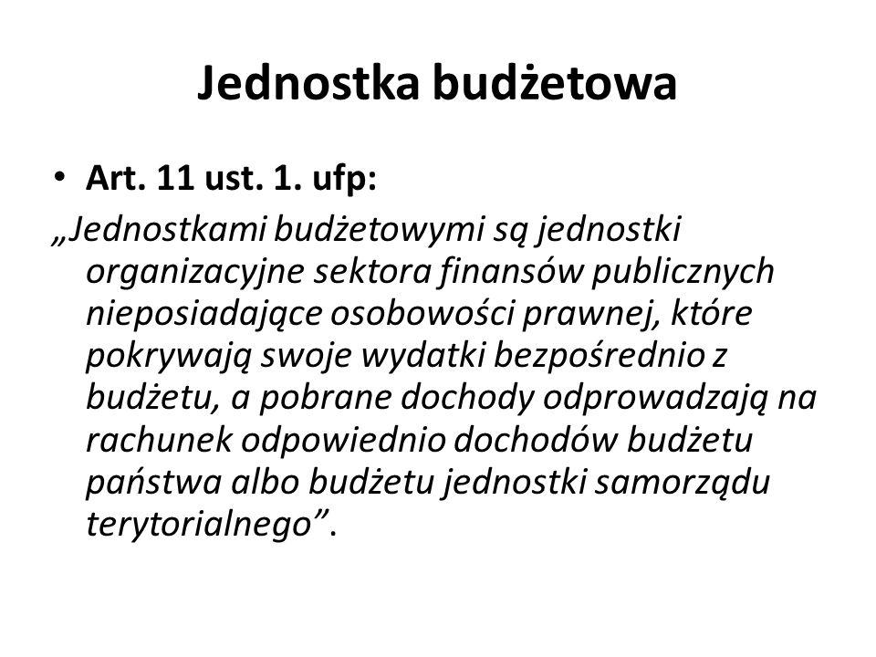 Jednostka budżetowa Art. 11 ust. 1. ufp: