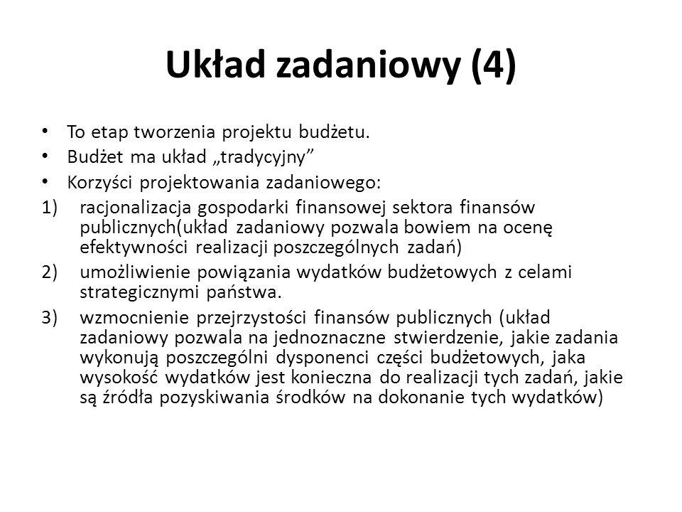 Układ zadaniowy (4) To etap tworzenia projektu budżetu.
