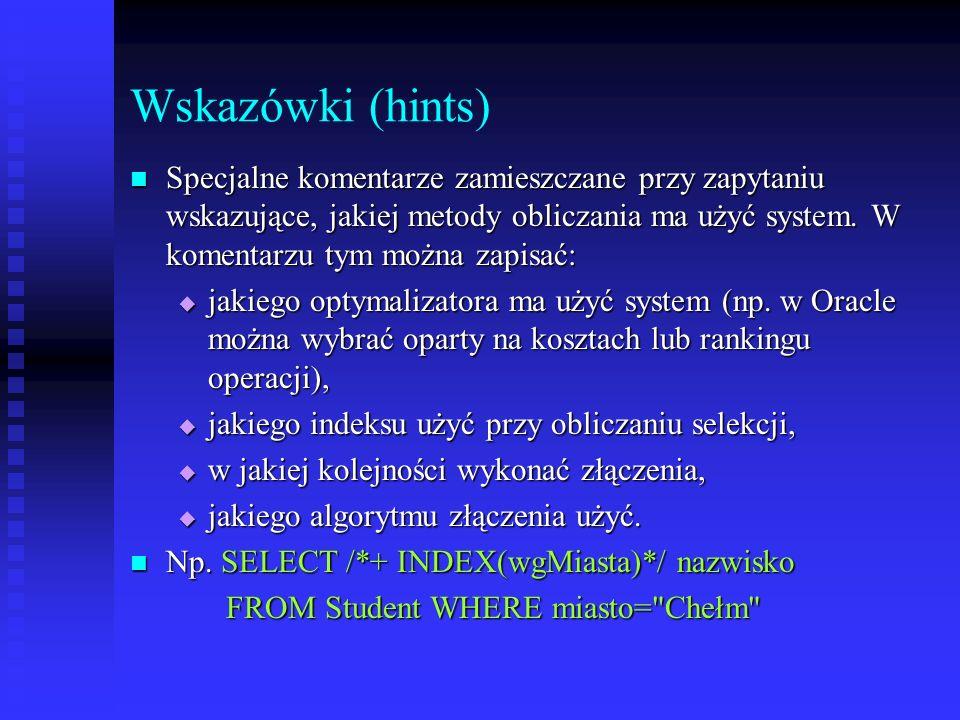 Wskazówki (hints)