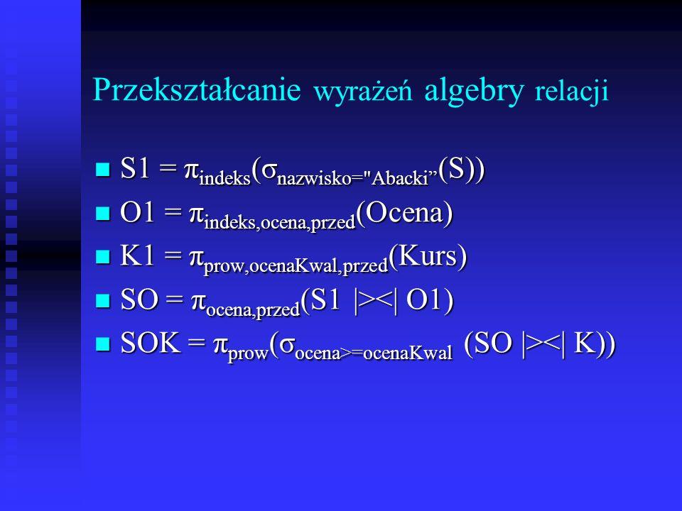 Przekształcanie wyrażeń algebry relacji