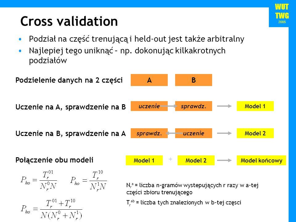 Cross validation Podział na część trenującą i held-out jest także arbitralny. Najlepiej tego uniknąć – np. dokonując kilkakrotnych podziałów.