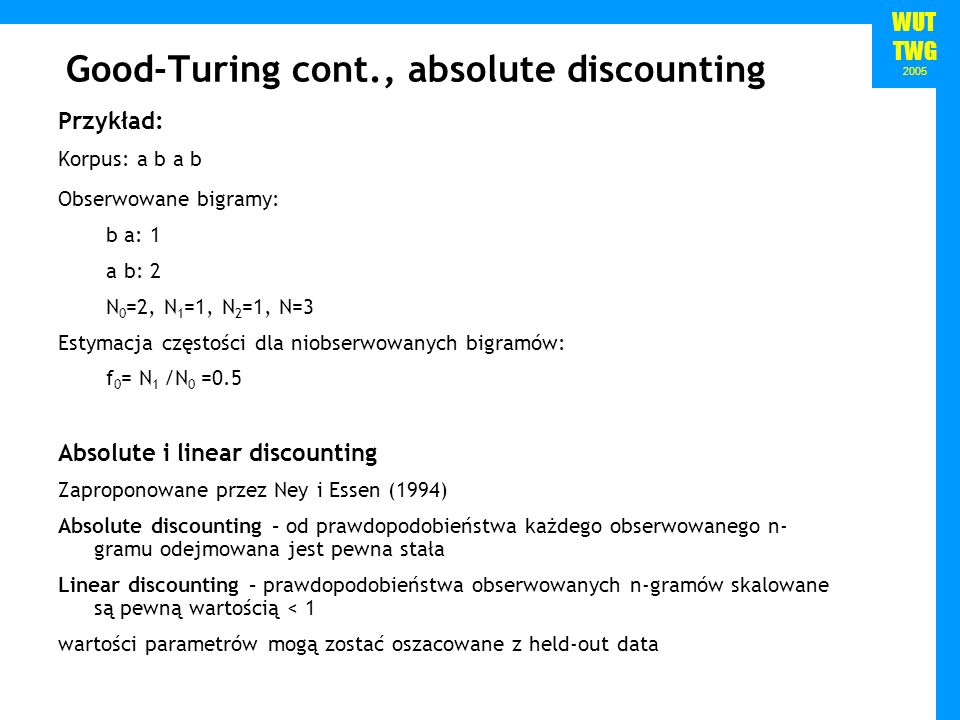 Good-Turing cont., absolute discounting