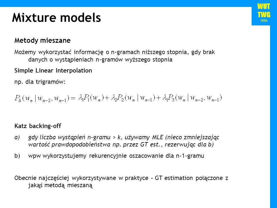 Mixture models Metody mieszane