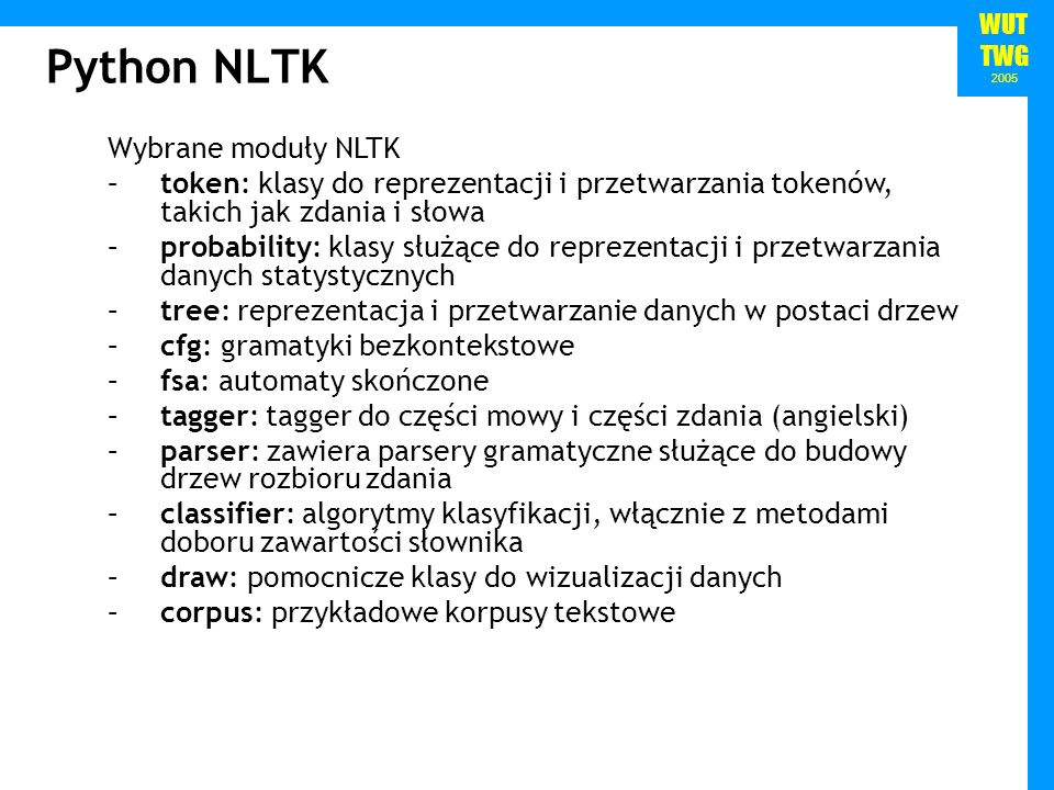 Python NLTK Wybrane moduły NLTK