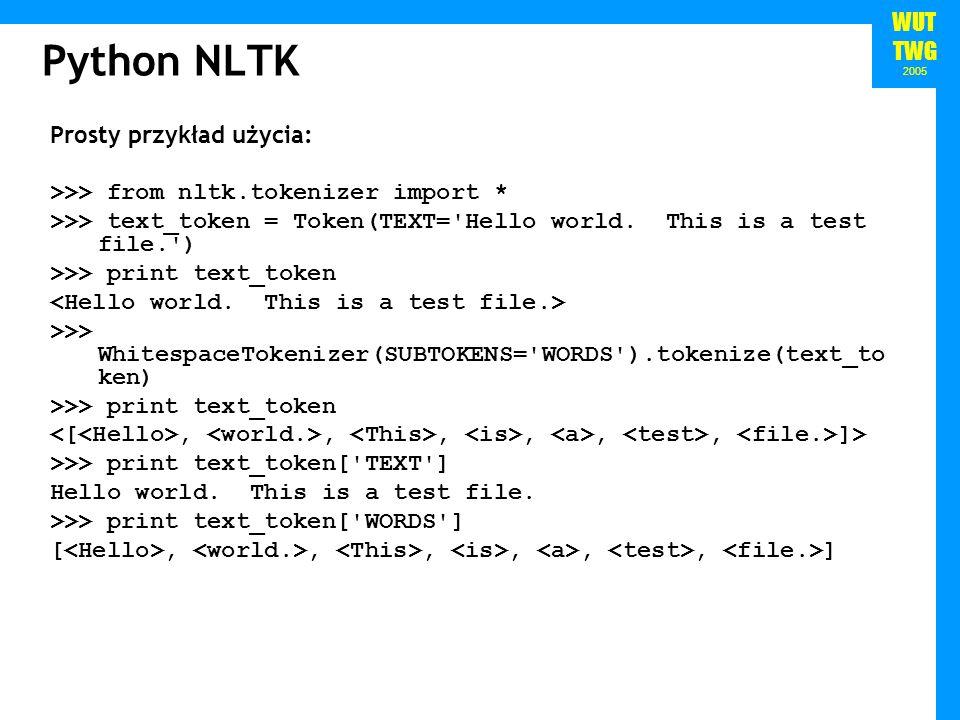 Python NLTK Prosty przykład użycia: