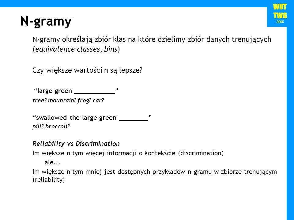 N-gramy N-gramy określają zbiór klas na które dzielimy zbiór danych trenujących (equivalence classes, bins)