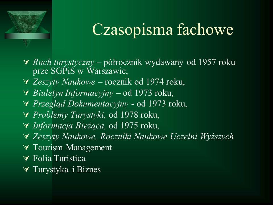 Czasopisma fachowe Ruch turystyczny – półrocznik wydawany od 1957 roku prze SGPiS w Warszawie, Zeszyty Naukowe – rocznik od 1974 roku,