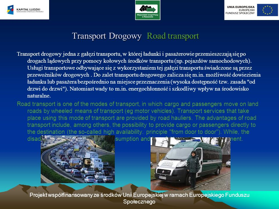 Transport Drogowy Road transport