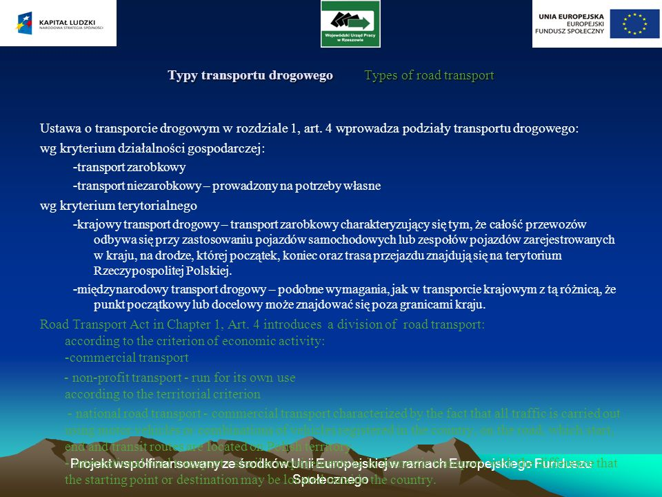 Typy transportu drogowego Types of road transport