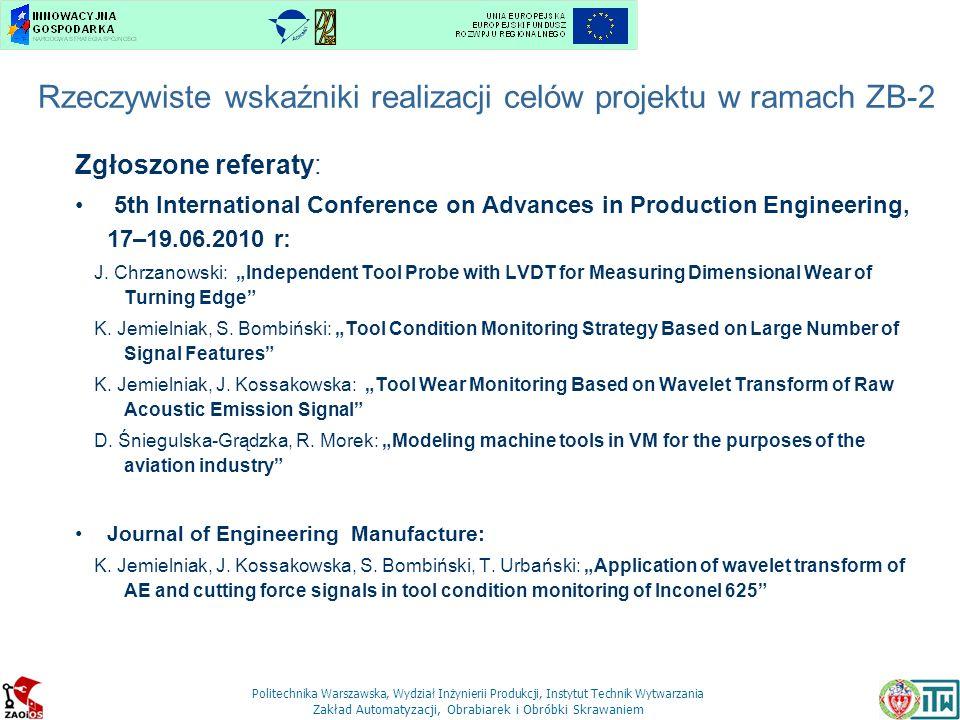 Rzeczywiste wskaźniki realizacji celów projektu w ramach ZB-2