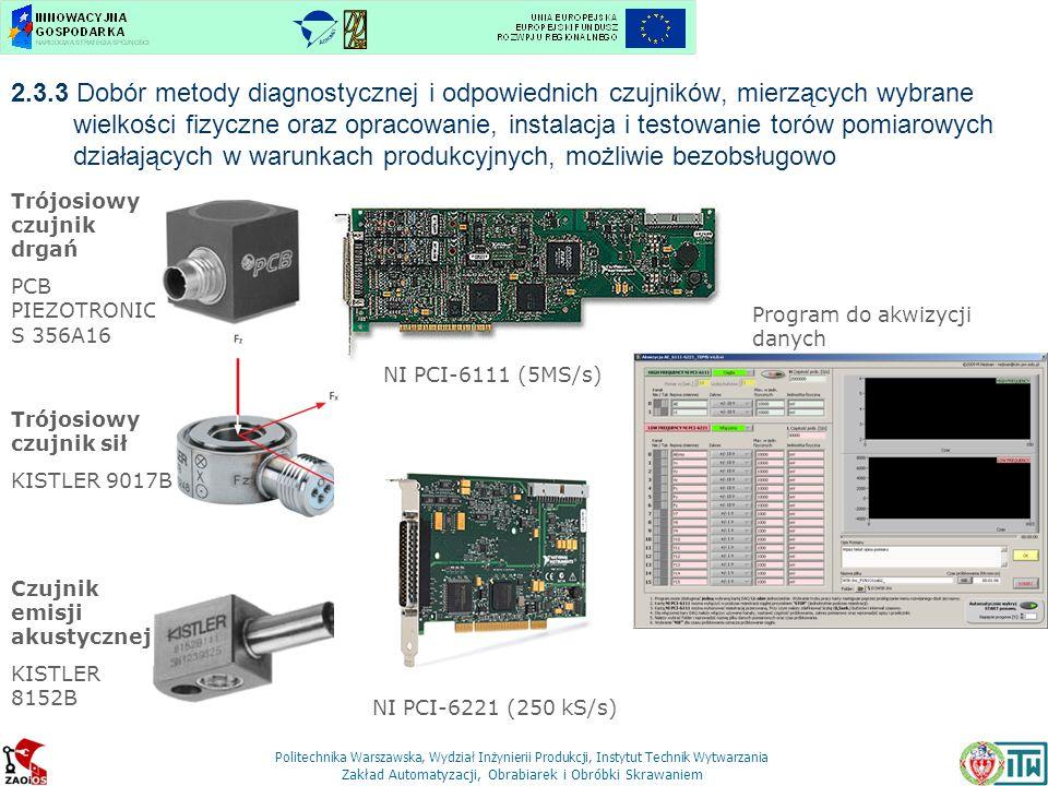 2.3.3 Dobór metody diagnostycznej i odpowiednich czujników, mierzących wybrane wielkości fizyczne oraz opracowanie, instalacja i testowanie torów pomiarowych działających w warunkach produkcyjnych, możliwie bezobsługowo