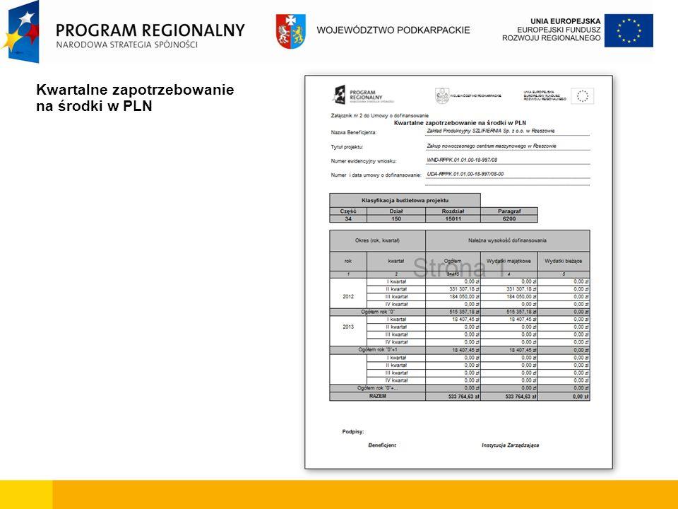 Kwartalne zapotrzebowanie na środki w PLN