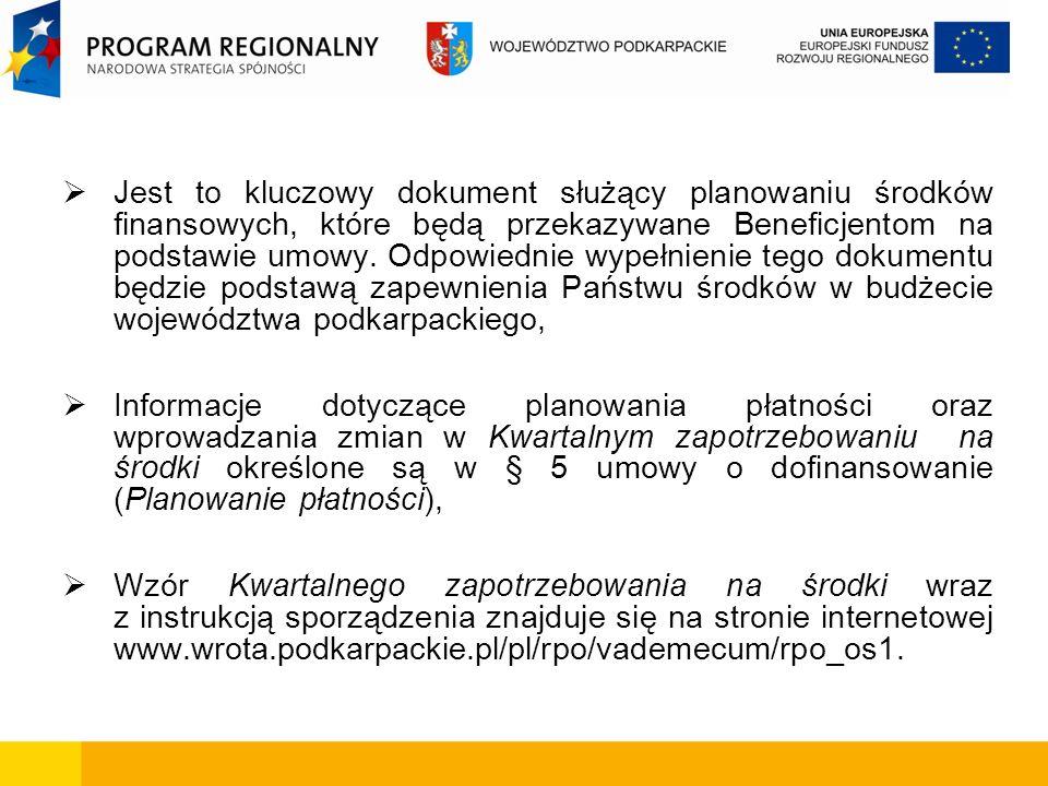 Jest to kluczowy dokument służący planowaniu środków finansowych, które będą przekazywane Beneficjentom na podstawie umowy. Odpowiednie wypełnienie tego dokumentu będzie podstawą zapewnienia Państwu środków w budżecie województwa podkarpackiego,