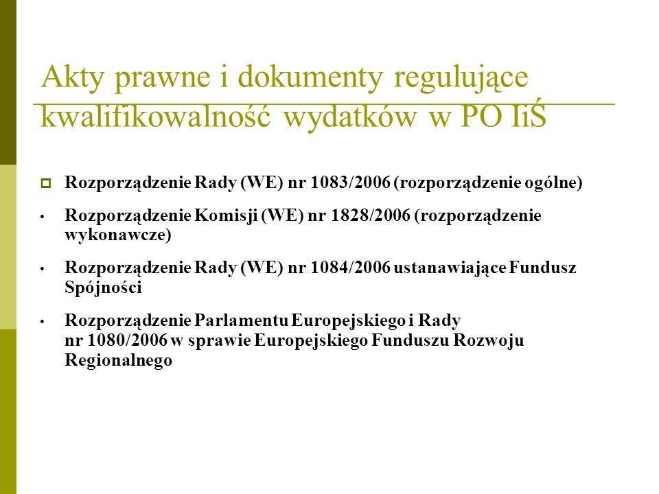 Akty prawne i dokumenty regulujące kwalifikowalność wydatków w PO IiŚ