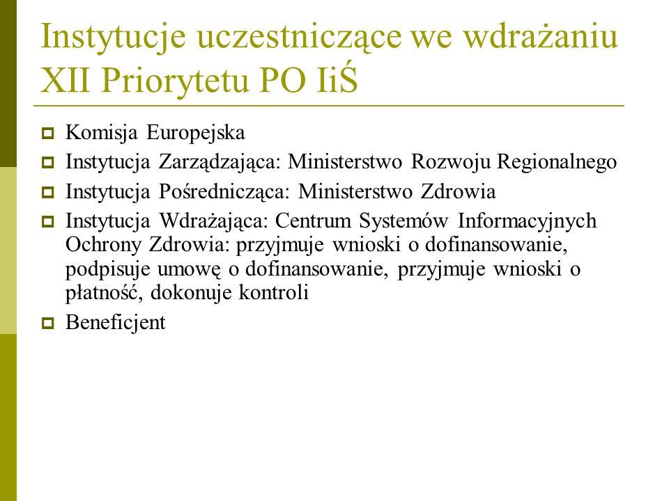Instytucje uczestniczące we wdrażaniu XII Priorytetu PO IiŚ