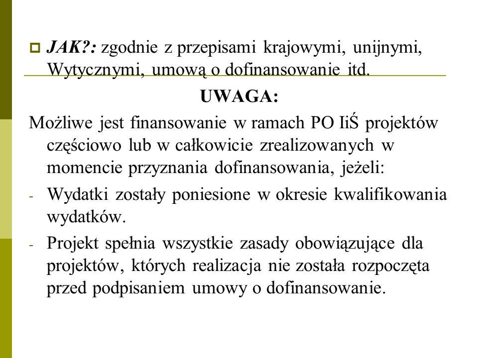 JAK : zgodnie z przepisami krajowymi, unijnymi, Wytycznymi, umową o dofinansowanie itd.