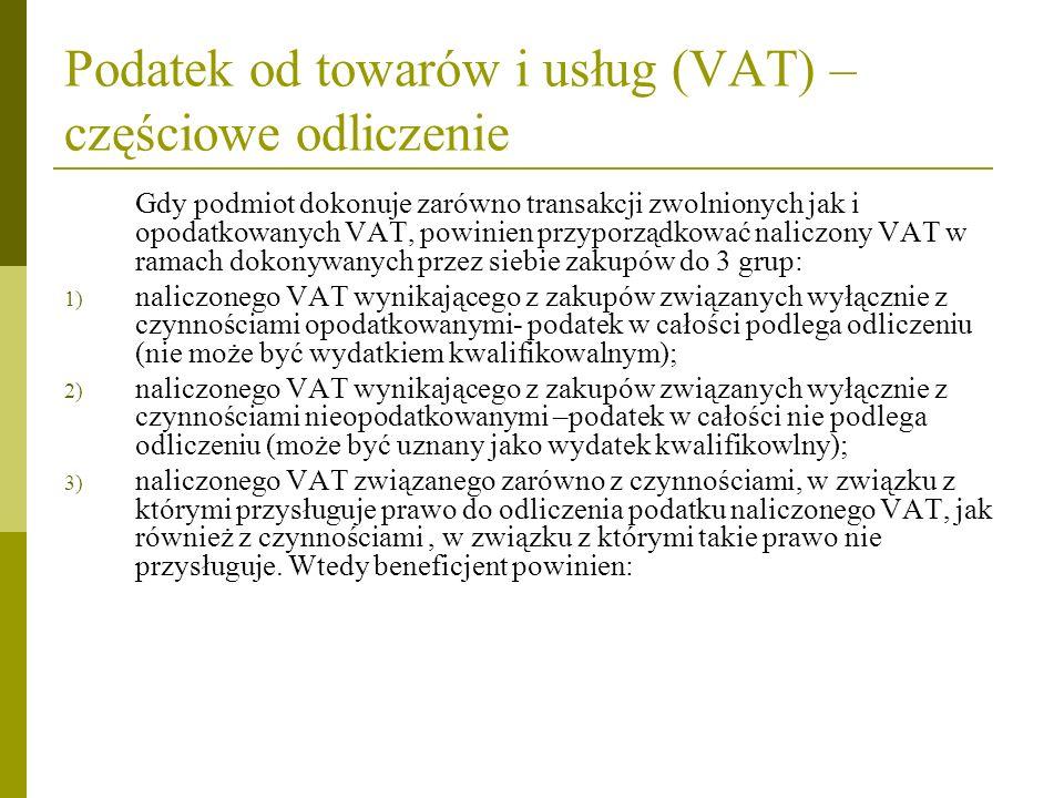 Podatek od towarów i usług (VAT) –częściowe odliczenie