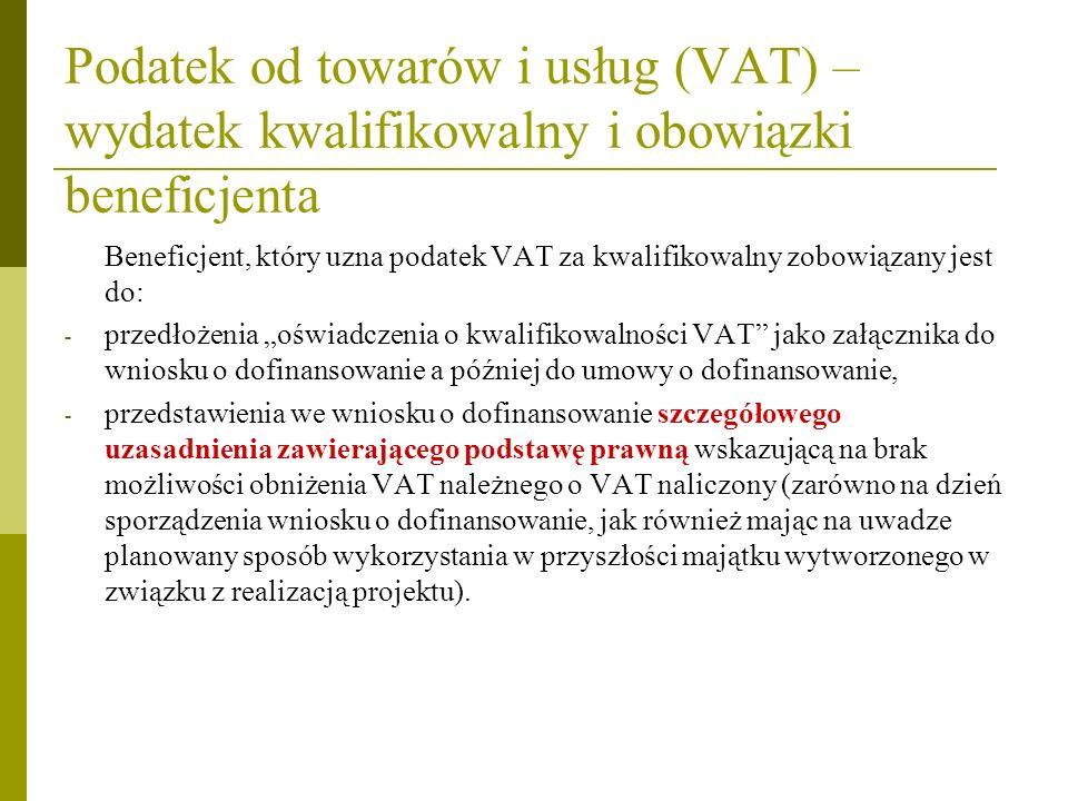 Podatek od towarów i usług (VAT) –wydatek kwalifikowalny i obowiązki beneficjenta