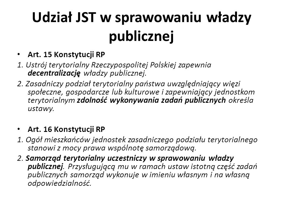 Udział JST w sprawowaniu władzy publicznej