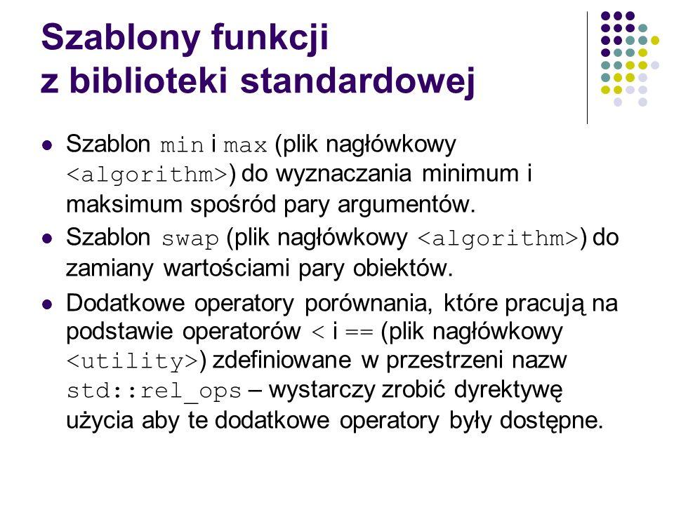 Szablony funkcji z biblioteki standardowej