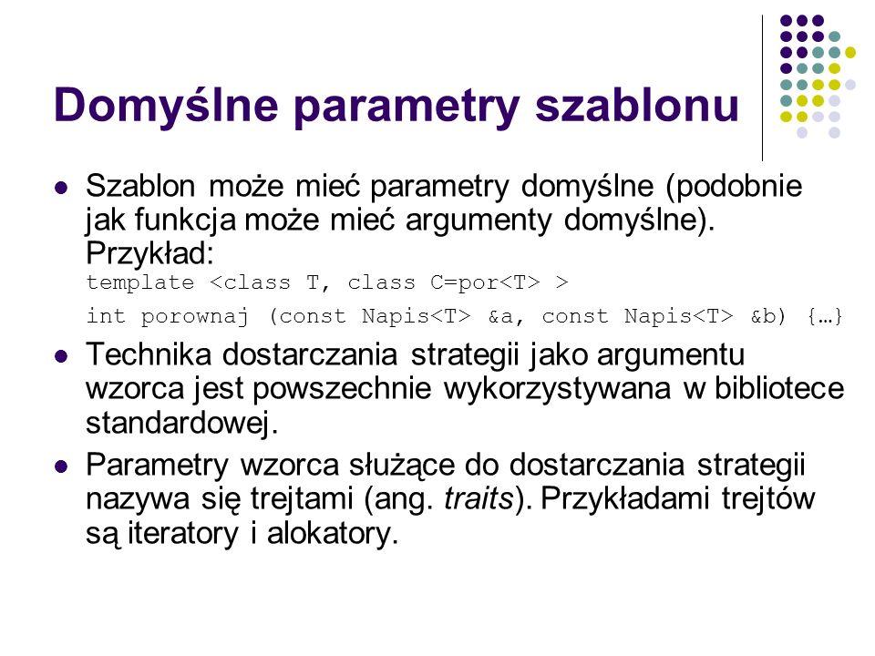 Domyślne parametry szablonu