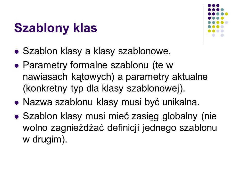 Szablony klas Szablon klasy a klasy szablonowe.